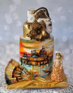 Carnival Cakers Collaboration:  Golden Skies of Venice by Hip-pop cakes