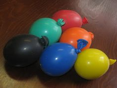 fruit of the spirit - self control:  Stress balloons (fill with dough or flour). Use red, orange, yellow or purple.  Tie fabric around knot to like leaves and draw a smile face.  This site shows how to fill them.  Could do dough inside ziplocs as an alternative if latex isn't allowed.