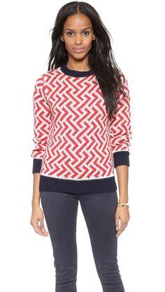 Maison Kitsune Jacquard Tricolor Alpaca Sweater