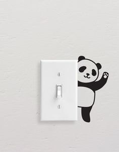 Panda Wall Decals, Panda Light Switch Decal, Simple Panda Vinyl Wall Decal, Panda Stickers, Light Switch Sticker Add style to simple switch plates with our Panda Wall Decal Set! This set includes five Simple Wall Paintings, Creative Wall Painting, Wall Painting Decor, Diy Wall Decor, Creative Art, Wall Art Designs, Paint Designs, Wall Design, Bedroom Designs