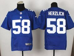 Men's NFL New York Giants #58 Herzlich Royal Blue Elite Jersey