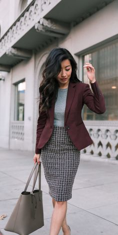 Burgundy blazer + tweed skirt & gray top