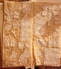 Rare Antique Hand Made Lace Needlework Crochet Sampler Book, over 155 Samples