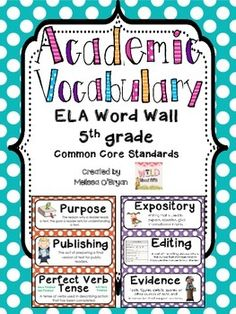 Fifth grade teachers this polka dot ELA vocabulary set is for you!! Over 160 ELA Common Core Vocabulary Word Wall cards for posting on word walls, in vocabulary notebooks/folders, centers, bulletin boards, and MORE. Repeated exposure to the words in the common core is critical for success. My students reference these cards daily and yours will too! $ #wildaboutfifthgrade
