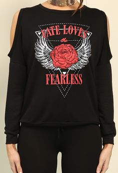Fate Loves The Fearless Graphic Open-Shoulder Sweatshirt