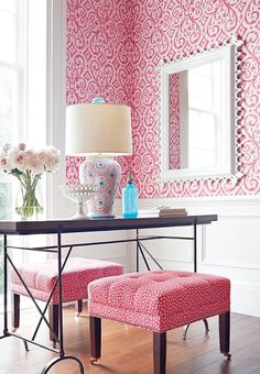 Fascinating Image Of Thibaut Design Ideas : Daring Girl Home Office Decoration Using Light Pink Silver Pattern Thibaut Wallpaper Including Barrel White Table Lamp Shade And Curved Light Pink Blue Porcelain Table Lamp Base Casa Feng Shui, Deco Rose, Modernisme, Living Spaces, Living Room, Pink Room, My New Room, Girls Bedroom, Interior Decorating