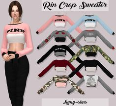 Rin Crop Sweater37 Swatches HQ Mod Compatible Custom Catalog Thumbnails Credits: to @rinnotreallyhere Download on my website