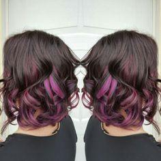 Violet Highlights, Peek a boo highlights, underlights, fashion color, fushia hair