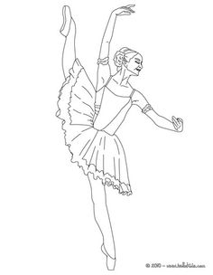 Ballerina performing beautiful degage coloring page