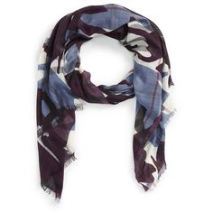 Burberry'Painted Camo' Wool & Silk Scarf ($450) ❤ liked on Polyvore featuring accessories, scarves, elderberry, lightweight scarves, camouflage scarves, burberry, camo scarves and burberry scarves