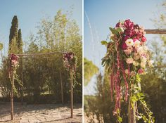 Wooden frame with organic styled blooms. Summer Wedding in Spain: Kelly + Mikey