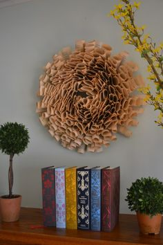 spring mantel, book page wreath