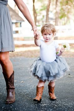 cowboy boots and tutu - too cute! If I have a flower girl :) nailed it