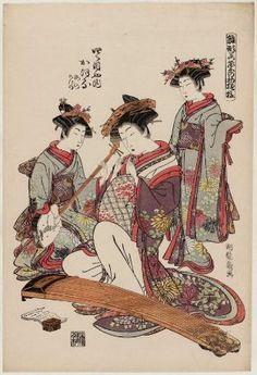 Isoda Koryusai (Japanese Ukiyo-e Printmaker, ca. 1766 - 1788) / Kaoru of the Yotsumeya, kamuro Umeno and Shigeno, from the series Models for Fashion: New Year Designs as Fresh as Young Leaves (Hinagata wakana no hatsu moyo)