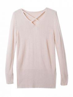 Beige V Neck Side Split Long Sleeve Sweater Dresses #Tops #Swimwear #Jeans #Jackets #Skirts #Shoes