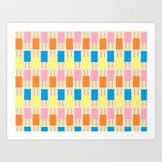Retro Popsicle Wallpaper Art Print