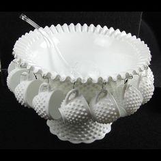 Vintage Fenton Milk Glass Hobnail Punch Bowl Set w 12 Cups   eBay So pretty