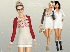 Winter Wonder Sweater Dress by Ms Blue - Sims 3 Downloads CC Caboodle