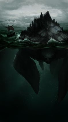 Hafgufa - a monster from Norse mythology, said to be an island that would suddenly sink into the sea when travelers set foot on it