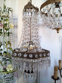 10 French Cut Chandelier Crystals /& Hanging Prisms Wedding Drops3.25in DBL