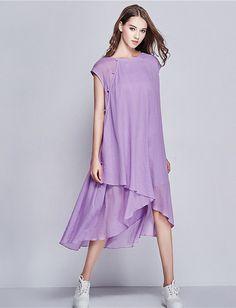 Lange Leinen Kleid / Plissee Cocktailkleid / von camelliatune