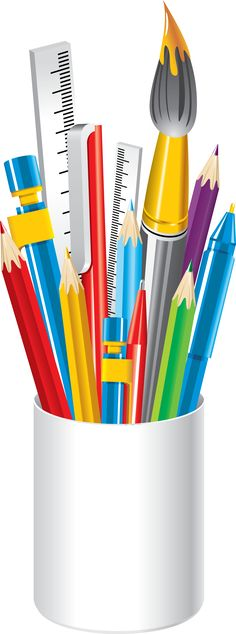 To school clip art: school supplies maker fun factory vbs, cup art, page bo