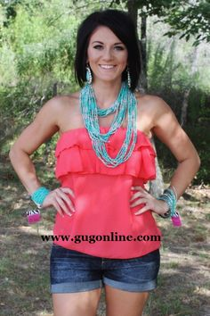 Ruffle Me Up Tube Top in Coral-NOW IN PLUS SIZE $19.95-$22.95 www.gugonline.com