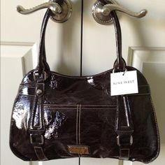 """NINE WEST Dark Brown """"Distressed Look"""" Handbag Beautiful NW Bag -Shiny Distressed Look is stylish & chic can be worn with Jeans or Business Attire-Accented w/Shiny silver hardware and NW Logo plaque-Med Size Light Beige Interior- 1 Deep interior wall zipper pocket- This is a Great Buy!!! Nine West Bags"""