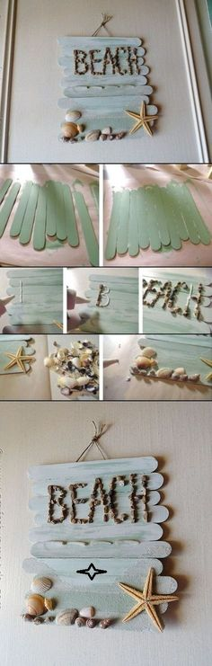 DIY wall art decor ideas,  would probably find something a little more rustic than Popsicle sticks.