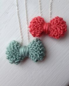 Knitted Bow Tie Necklaces on Sterling Silver by craftyrachael