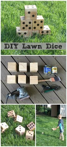 DIY Wooden Lawn Dice - Make your own wooden yard dice, perfect for your next back yard barbeque, tailgate party, beach day, or other outdoor gathering. Play all your favorite classic dice games with these giant wooden dice. Diy Yard Games, Lawn Games, Diy Games, Party Games, Giant Yard Games, Giant Outdoor Games, Outdoor Yard Games, Outdoor Toys, Outdoor Spaces