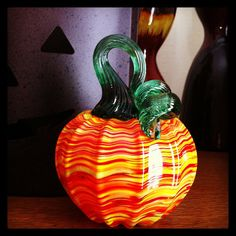 Instagram via tiagina11: The pumpkin I made at Corning Museum of Glass #CMOG #glassblowing #fun