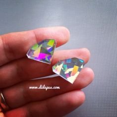 DIAMOND stud GALAXY HOLOGRAPHIC earrings by didepux on Etsy, €4.00