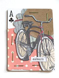 """the split stitch: Four ATC's, One APC... and an inchie."" I have NO idea what this means. Artist Trading Cards and inchie I think I comprehend. must have been some kind of contest? or trade? Artist Playing Card maybe?"
