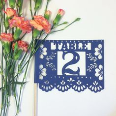 Papel Picado Table Numbers, Mexican Fiesta Wedding, Talavera Decor, Paper Cut Decorations, Centerpiece SET OF 12