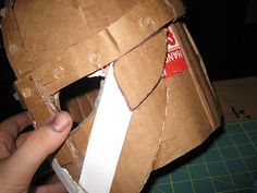 Happily Ever Crafter: DIY: Building a Medieval Helmet Out of Cardboard Hiccup Costume, Shrek Costume, Celtic Costume, Medieval Banner, Knight Shield, Medieval Helmets, Knights Helmet, Leather Working, Diy And Crafts