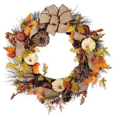 Natural Pumpkin Wreath (£57) ❤ liked on Polyvore featuring home, home decor, floral decor, handmade wreaths, fall berry wreath, burlap ribbon wreath, leaf wreath and fall leaf wreath