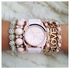 Pink watch and sparkles.