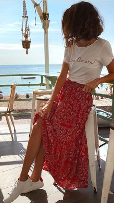 spring style summer fashion red maxi floral skirt white slogan tshirt casual is part of Fashion - Mode Outfits, Casual Outfits, Fashion Outfits, Fashion Clothes, Womens Fashion, Fashion Ideas, Petite Fashion, Curvy Fashion, Skirt Fashion