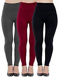 Womens Leggings Fleece Lined-High Waist 3 Pack (Black, Charcoal, Wine) - Basic Elastic Ankle Legging, (One Size) Burgundy Leggings, Brown Leggings, Navy Leggings, Fashion Pants, Look Fashion, Fashion Women, Thing 1, Slim Pants