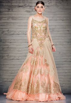 Beige and Peach Net Readymade Double Layered Gown