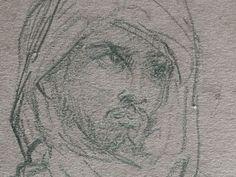 CHASSERIAU Théodore,1846 - Arabe debout, retenant un pli de son Burnous - drawing - Détail 13