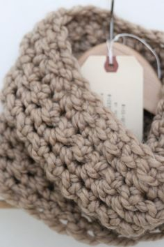 Tan Chunky Handmade Cowl Infinity Scarf by madebyRICE on Etsy (more colors available.. and coming soon!)