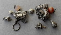 Waist Charm/Pendant -w/ FOO Dog Screw Top. Foo Dog Screw tops. Both have large carnelian beads hanging from the bottom. 2 Antique CHINESE Silver Snuff Bottle Purses. These charms most likely hung from the waist.   eBay!