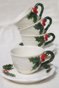 vintage Lefton Christmas holly white china cups & saucers, hand painted ceramic made in Japan
