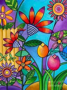 Wild Flowers Painting by Carla Bank . Wild Flowers Painting by Carla Bank . Art Floral, Art Mural Floral, Flower Canvas, Flower Art, Art Flowers, Flowers Garden, Doodle Flowers, Cactus Flower, Exotic Flowers