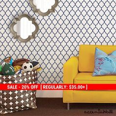 Moroccan Small Pattern Navy Peel & Stick Fabric von AccentuWall