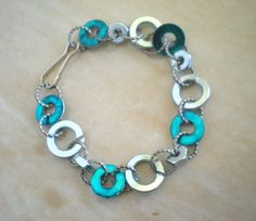 Washer Bracelet: Blue and Silver - Hardware Jewelry - Washer Jewelry - Upcycled Jewelry - Unique Jewelry - Hardware Bracelet. $22.00, via Etsy.