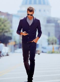 low collared sweater over button up shirt, fitted jean trousers and brown belt - casual yet sophisticated