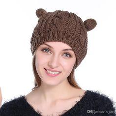 8e8a698a41c2 New Cute Fashion Autumn Winter Wool Cat Ears Hats Women Hemp Flowers Beret  Outdoor Keep Warm Knitting knitted Hat female beanies